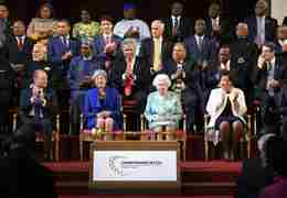 The Queen, Patricia and Theresa May at CHOGM2018