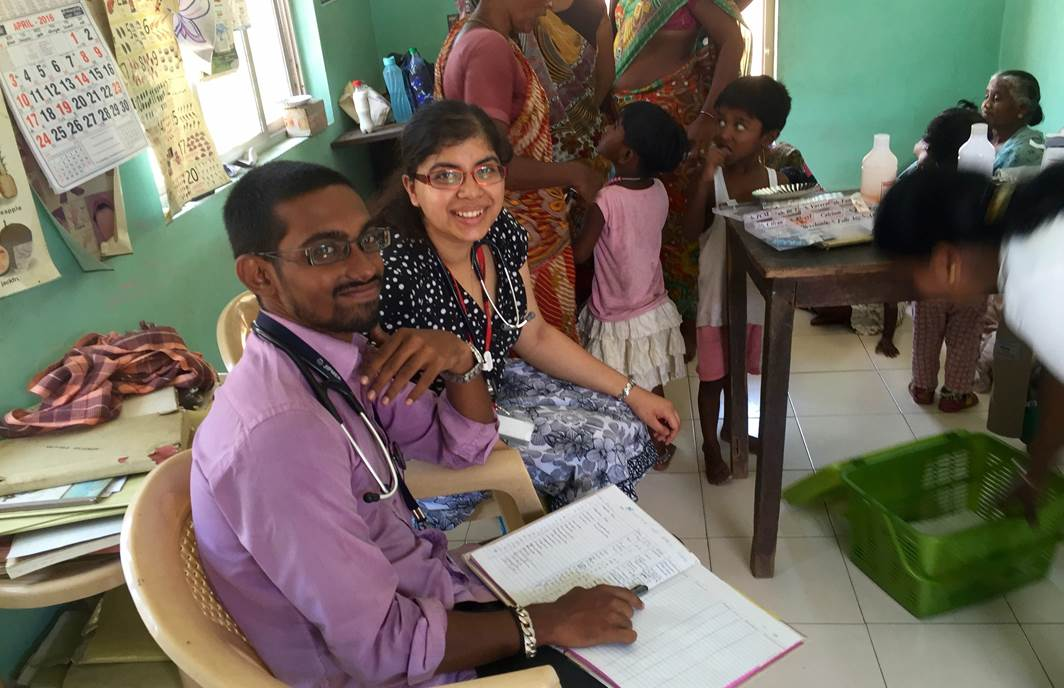 Edward Boyle Medical Elective Bursary awardee | Madhurima Sinha (Left) At A Community Health Outpost In Pondicherry