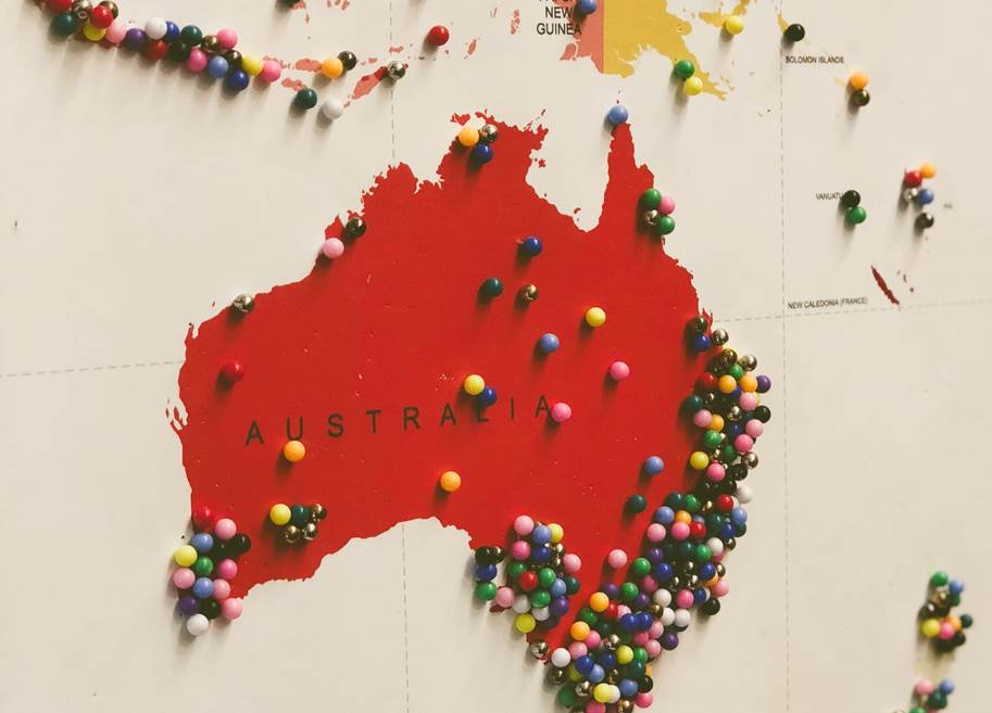 Australia Map With Pins (Image By Jon Tyson On Unsplash)