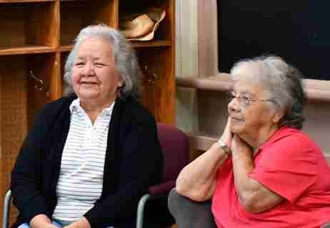 Kanyen'kéha: back from the edge | CAPTION: Elder first-language speakers on the Mohawk Language and Culture course offered jointly by Queen's University and the Tsi Tyónnheht Onkwawén:na Language and Cultural Center