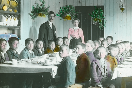 Rising voices | CREDIT: The United Church of Canada Archives (93.049P/202S) | CAPTION: Boys in the dining room at Brandon Indian Residential School, Manitoba, circa 1900