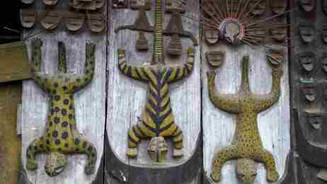 The languages of the seven sisters | Carvings from the chief's house in the Oinam village CROPPED