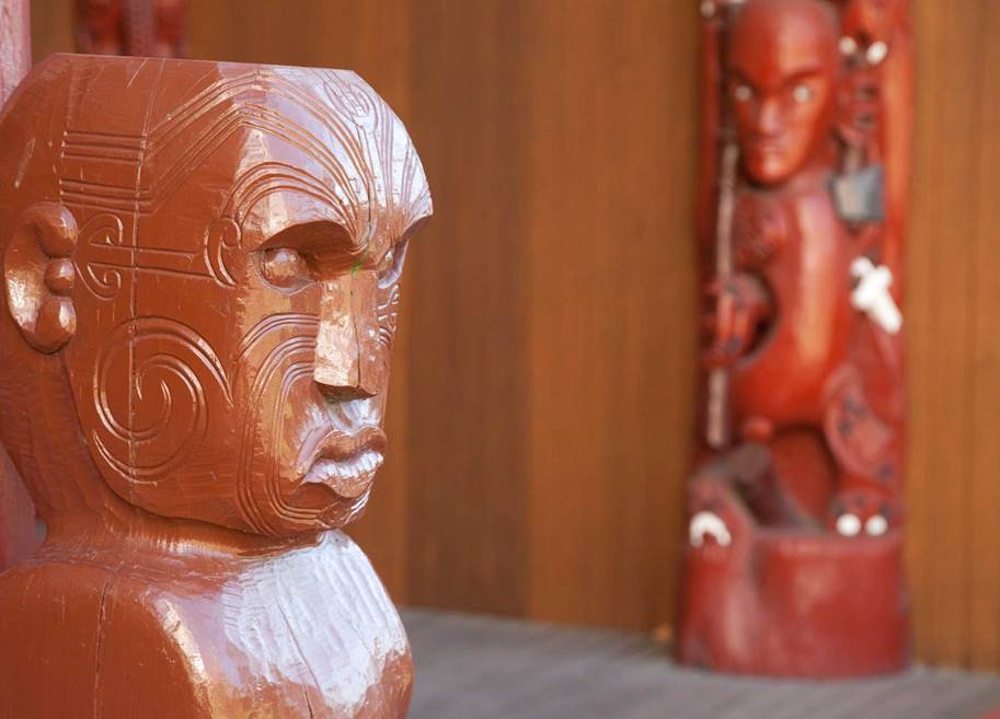 A new dawn for te reo Maori | carved figure from the Nga Wai o Horotiu marae at AUT