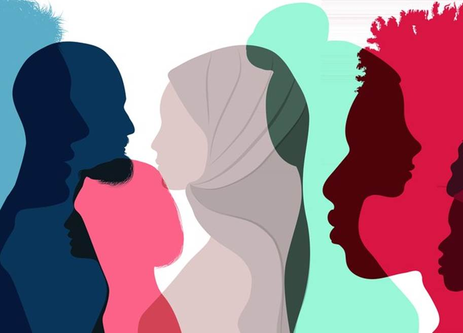 Silhouette profile group of men and women in a multicultural society | Credit: Melitas At Shutterstock