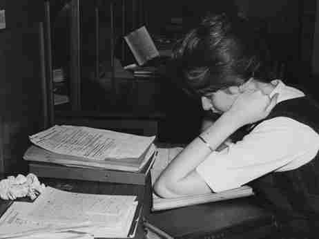 Female student in an LSE reading room in 1964